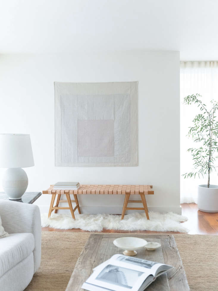 the apartment&#8\2\17;s shades of driftwood palette extends to the quilt, w 9