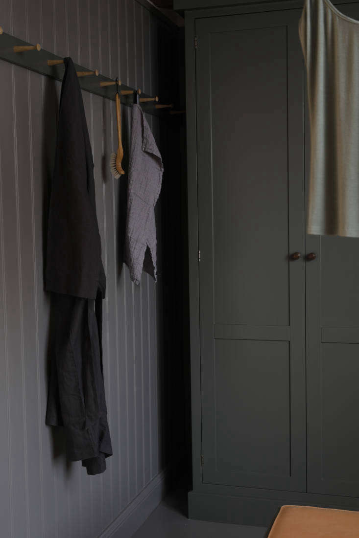 Peg rail in a dressing room by Kvanum of Sweden.