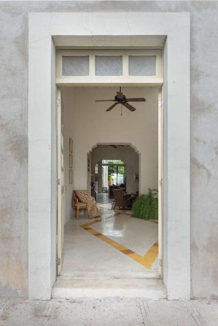 the front door opens into the vestibule. from here, guests can, in one straight 10