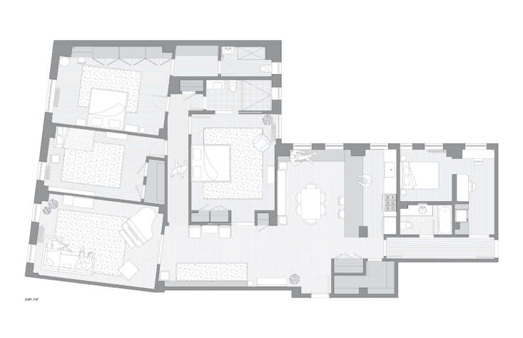 the new, more modern layout, now with a centrally located kitchen and guest qua 20