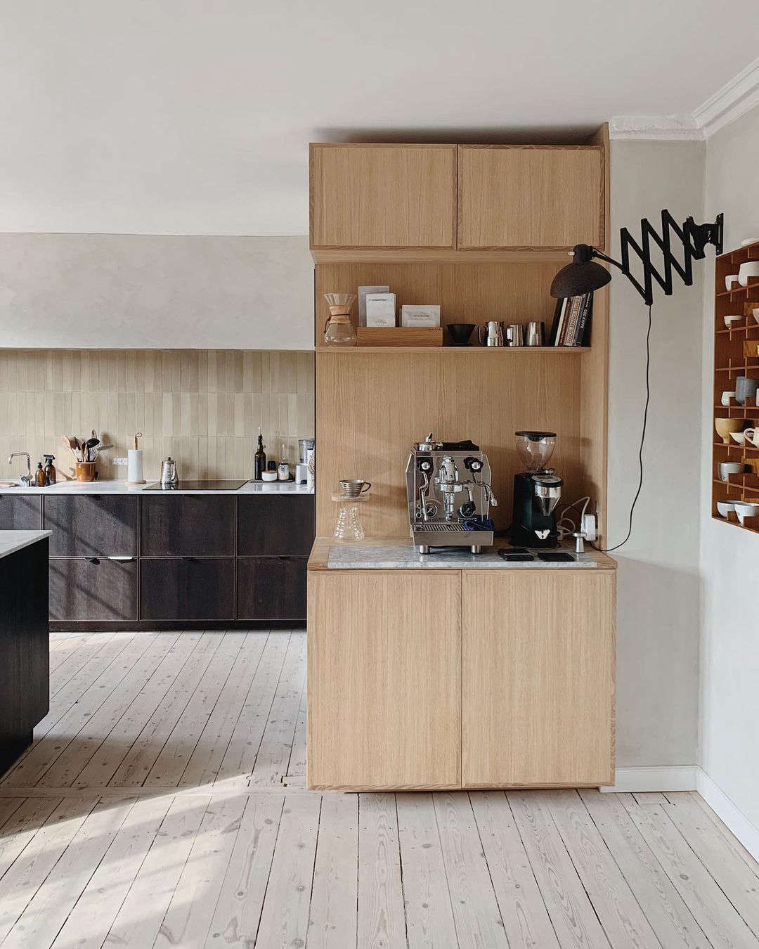an essential coffee station built into the side of the kitchen. 11