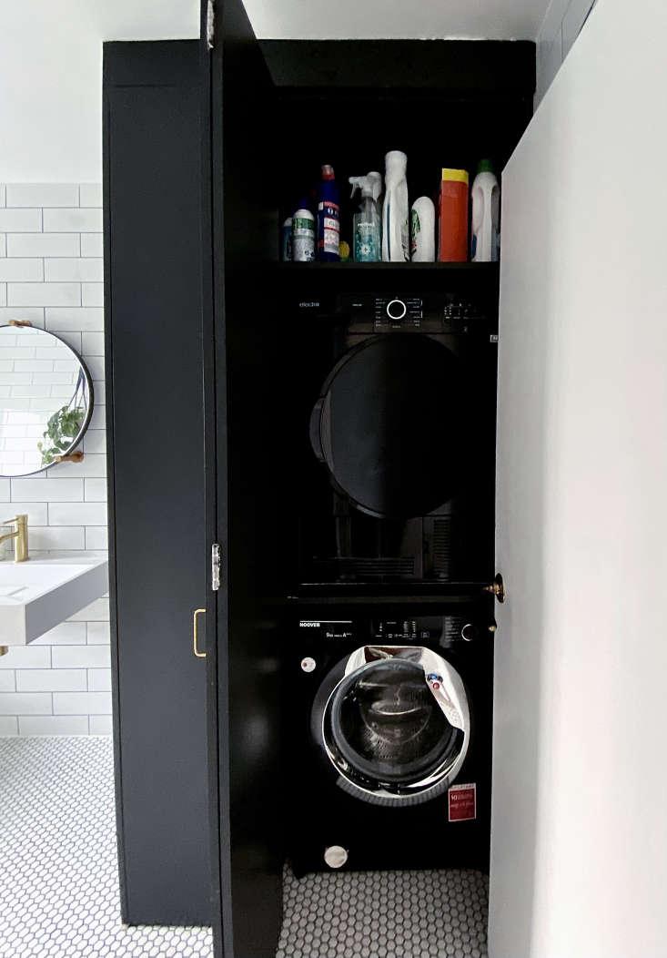 Ferren Gipson's laundry cabinet in bathroom remodel, London.