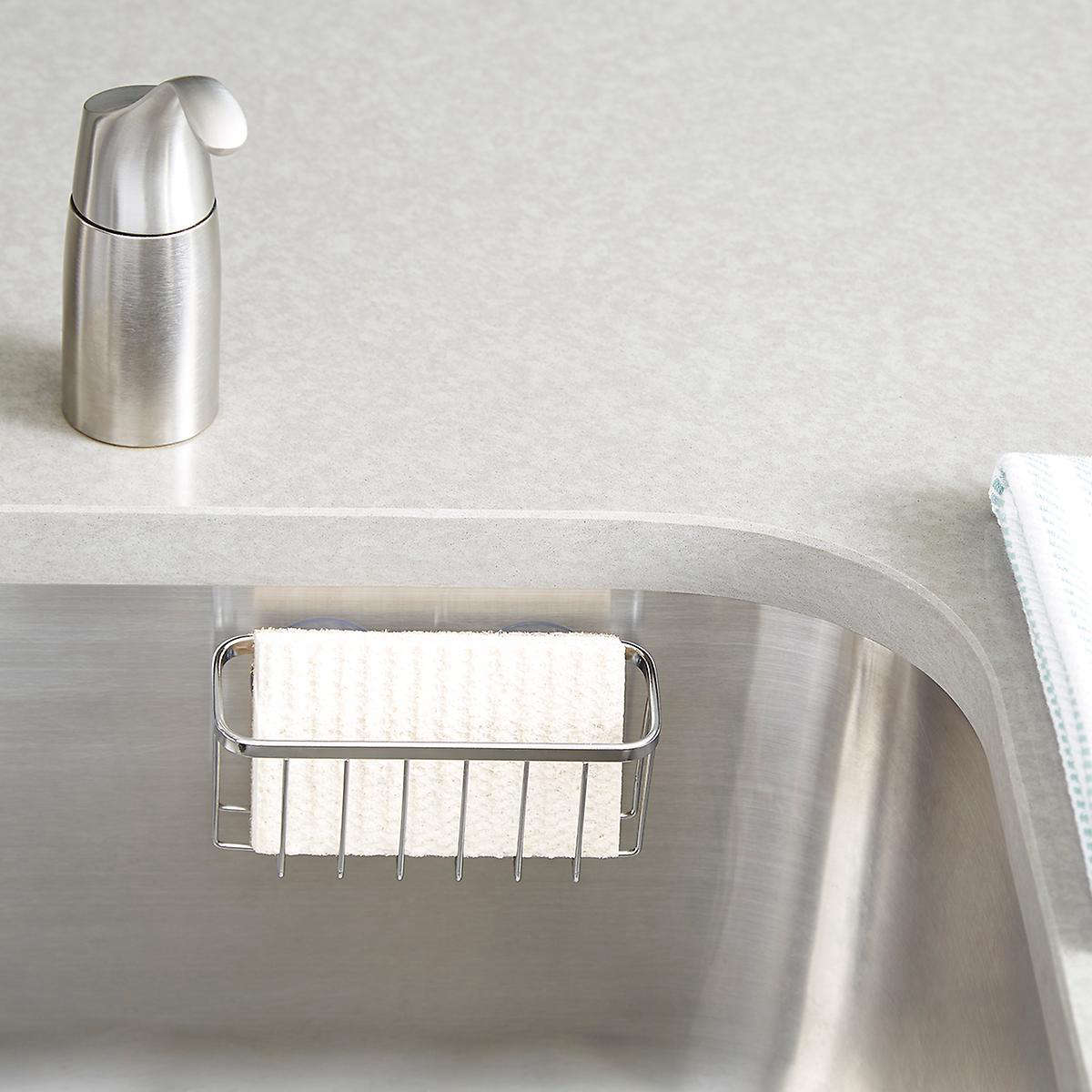 Another inexpensive sponge holder is the Stainless Steel Sunction Sink Center by iDesign; it's $6.99 at the Container Store.