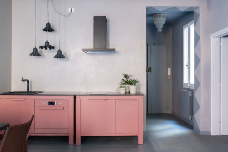 very simple kitchen pink