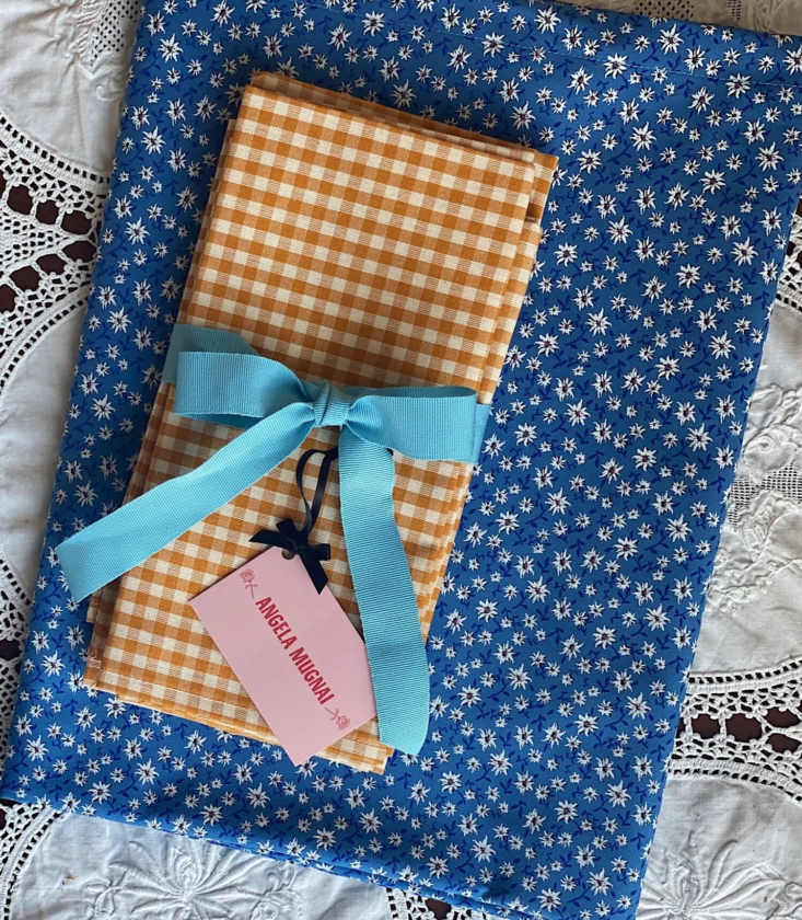 Angela Mugnai Edelweiss Turquoise Tablecloth Gift Set