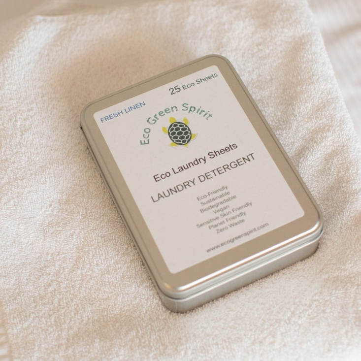 Eco Green Spirit offers tins of 25 Eco Laundry Sheets for $24.95.