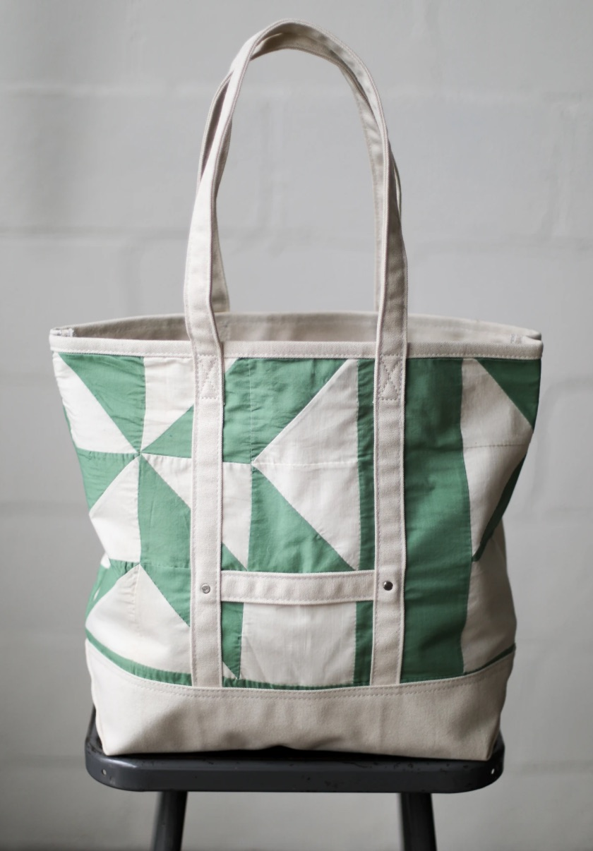 This one features a 1950s-era vintage quilt and measures 18 x 15 x 6 inches. Each one-of-a-kind bag is $175.
