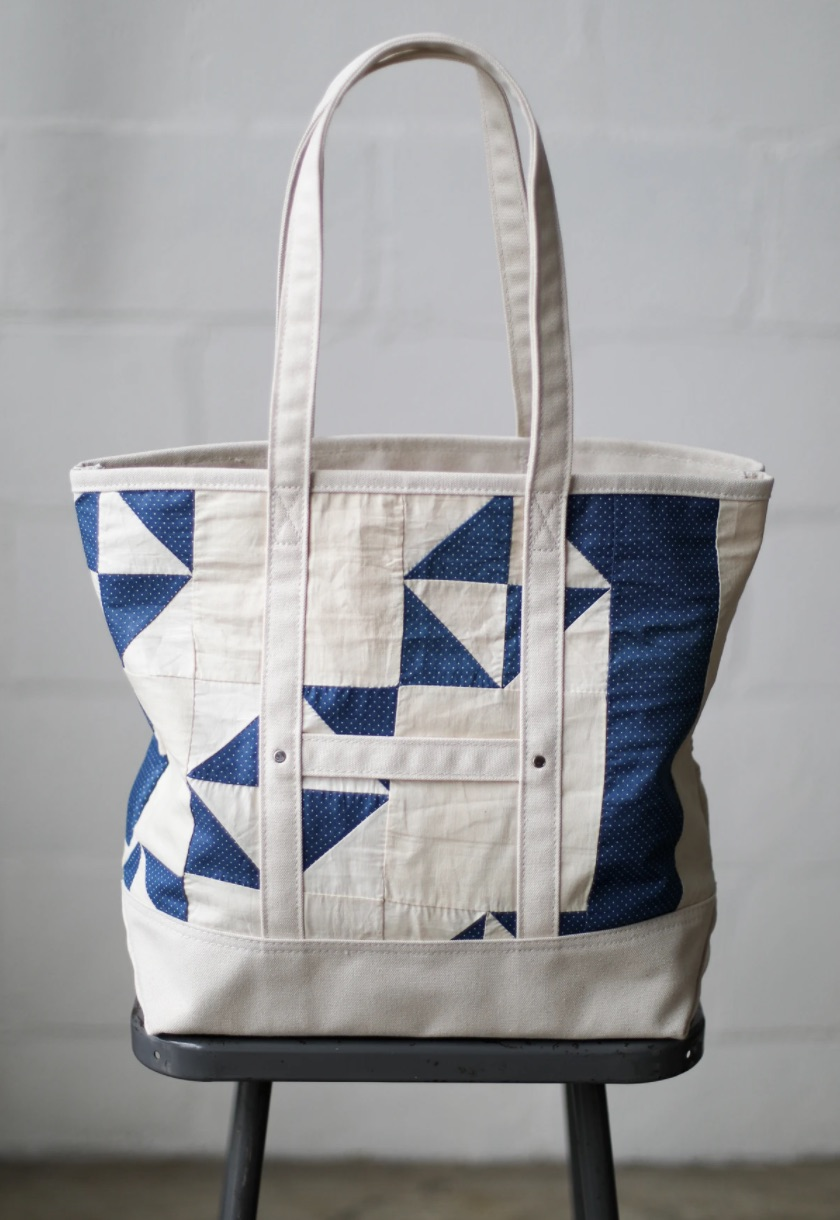 Each tote is lined with canvas and features a large interior pocket.