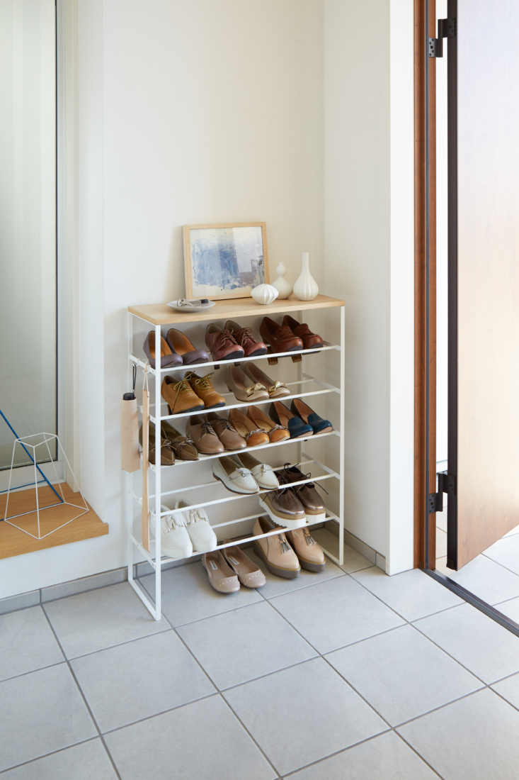 above: the six tier wood top shoe rack (\$\1\10) creates multiple storage oppor 12