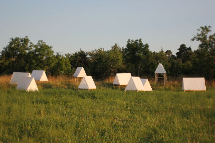 Current Obsessions Upcycled Finds Designers on Holiday Camp tents, Gotland, Sweden. DOH Studio.