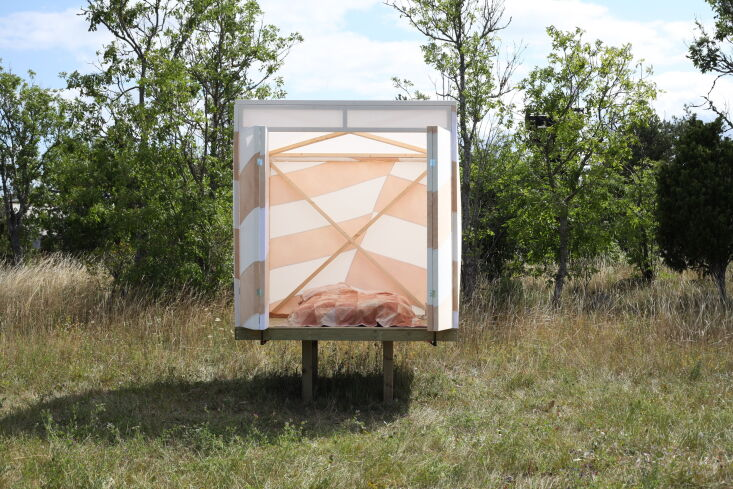 Current Obsessions Upcycled Finds Dazzle tent Gotland, Sweden. DOH Studio, Working Cloth, and Elfrida Nilsdotter Ahiby.