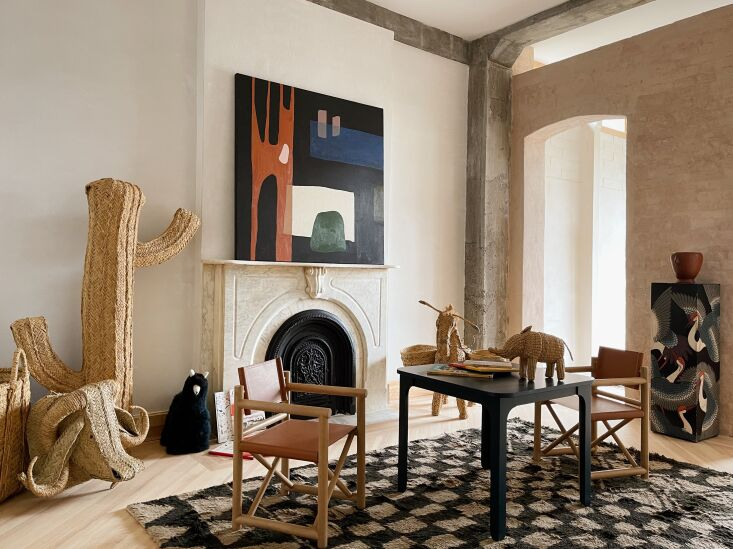 As on the first floor, the original brick wall was preserved; it opens to a bedroom in the extension. Of the new circulation, Bretaigne says: &#8\2\20;Instead of a typical townhouse layout, you have an unfolding space with myriad passageways and light pouring in from many directions.&#8\2\2\1; Photograph by Hollister Hovey.