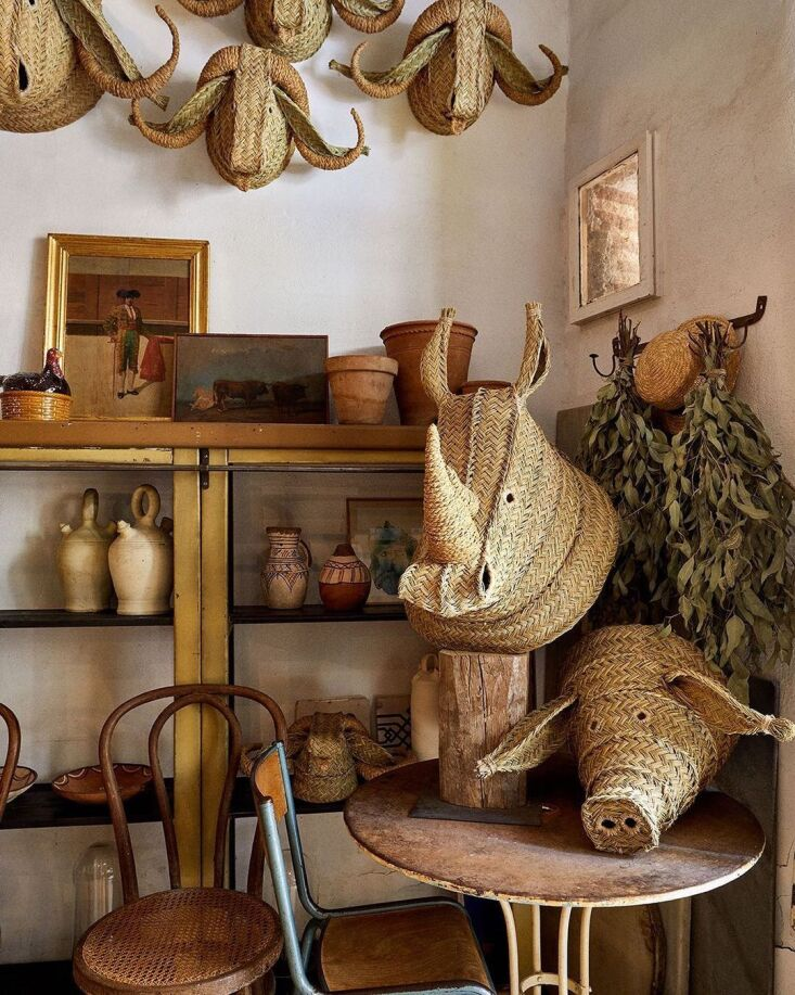 Madrid Artist Javier S Medina The Master of the Woven Grass Eco Trophy Medina opened his shop in \20\14; he now also sells his work on his website and ships it around the world. Shown here, a Rhinoceros, €350, and pig (available on request). Photograph by Davit Ruiz for Loewe.