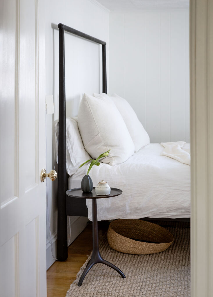 A Game of Clue A Stylists Redone Victorian Cottage in New England The bed frame in the main bedroom is &#8\2\20;a little Ikea hack,&#8\2\2\1; Krissy says: It&#8\2\17;s the Gjöra bed frame, stained black. &#8\2\20;I loved it for its Shaker esque lines: very New England but modern with its slightly bulbous feet.&#8\2\2\1;