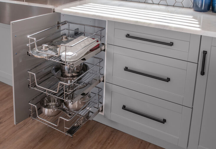 OneStop Modular Kitchen Solutions from NewAge Products Above: Three Pull Out Baskets (\$80.74 each) add usable space to a cabinet. They're available in three widths; these are the \18 inch versions.
