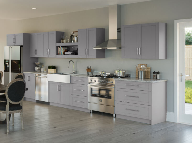 OneStop Modular Kitchen Solutions from NewAge Products Above: NewAge kitchen cabinets are easy to clean, will not warp, and easily fit with any make of appliance. They come in two heights (extended and standard) and a variety of paints and stains, like the dove grey shown here.