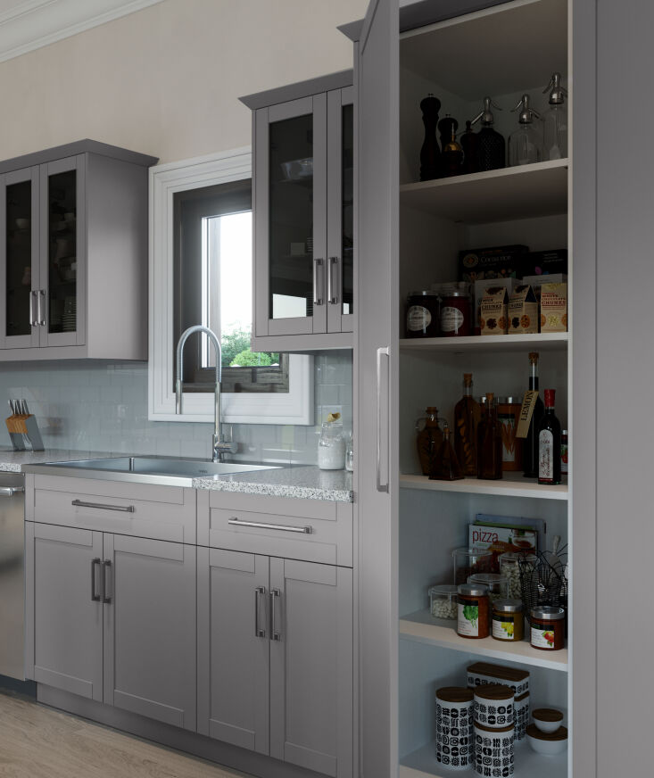 OneStop Modular Kitchen Solutions from NewAge Products Above: An easy way to add more storage to the kitchen: Pantry cabinets are available in two heights and two widths. Explore all their kitchen cabinet organization options.