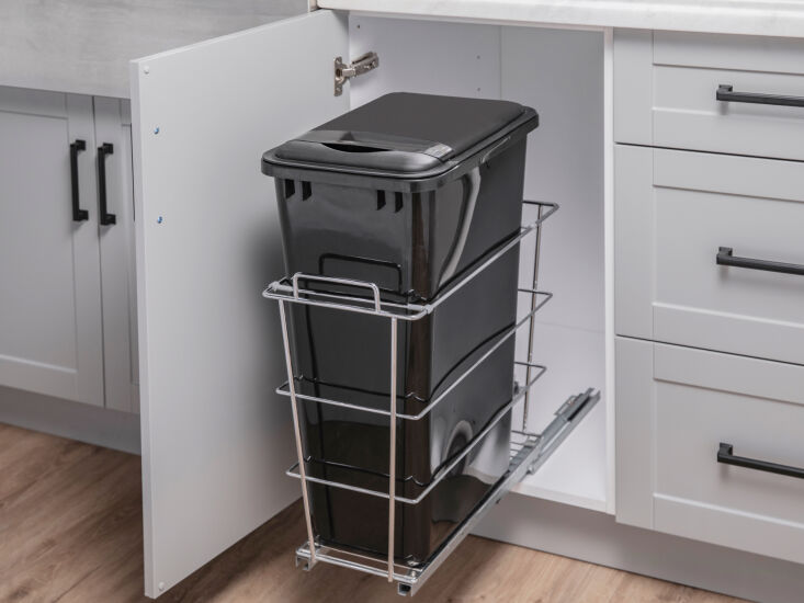 OneStop Modular Kitchen Solutions from NewAge Products Above: Another handy cabinet accessory: a Pull Out Bin (\$\144.49) for convenient trash management.