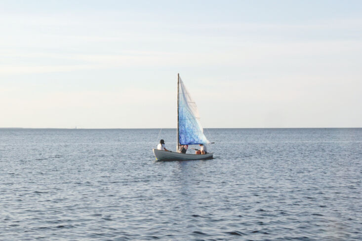 Current Obsessions Upcycled Finds Sailboat with waxed canvas sail, Gotland, Sweden, Designers on Holiday.