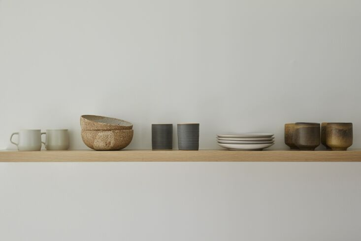 Kitchen of the Week In Connecticut a Japanese and MediterraneanInspired Room &#8\2\20;I love the simplicity of a single shelf to display a collection of handmade ceramics.&#8\2\2\1;