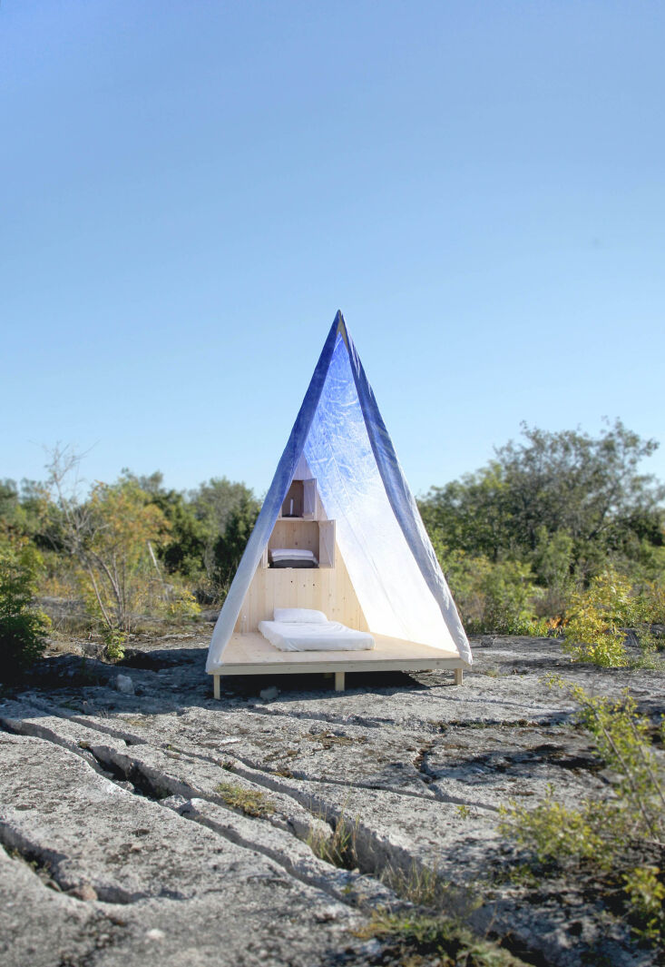 Current Obsessions Upcycled Finds Waxed tent and Swedish pine tent, Gotland, Sweden, DOH Studio and Avantika Agarwal.