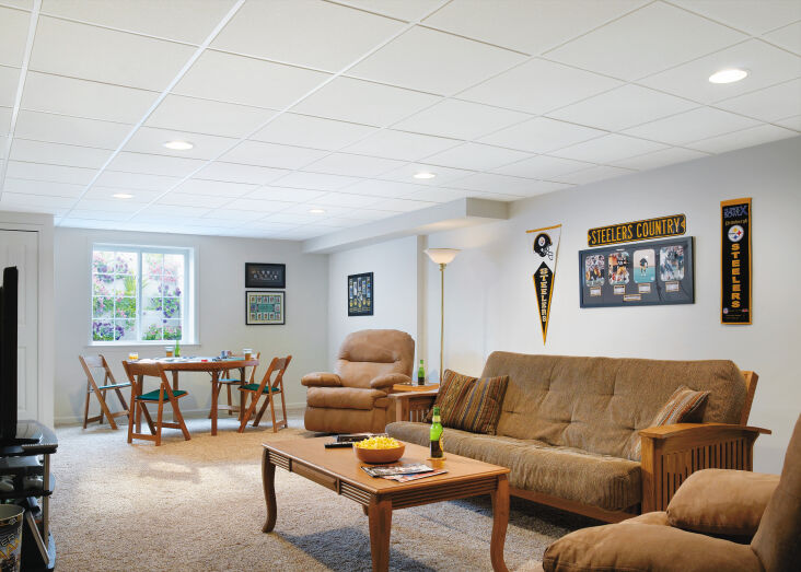"""above: a basement lounge space redone with smooth, simple sahara \24"""" x \24� 14"""