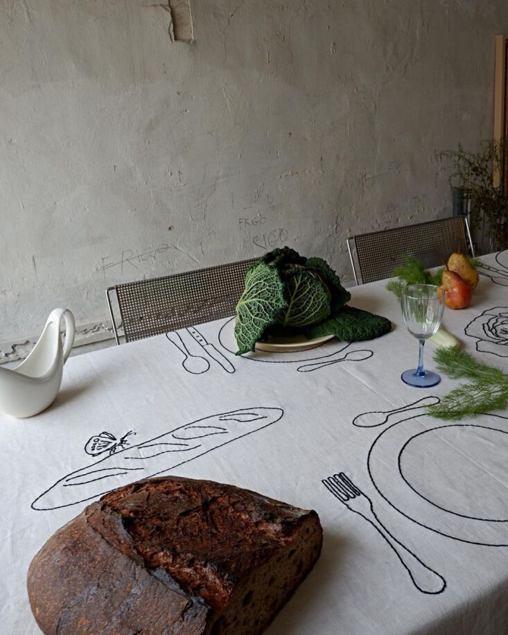 The Table du Potager, with cabbage and fennel fronds as decor.