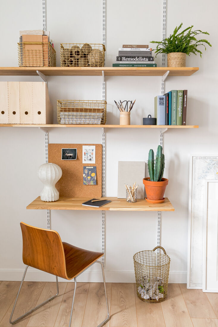 Desk shelves with new Korbo rectangular wire baskets.