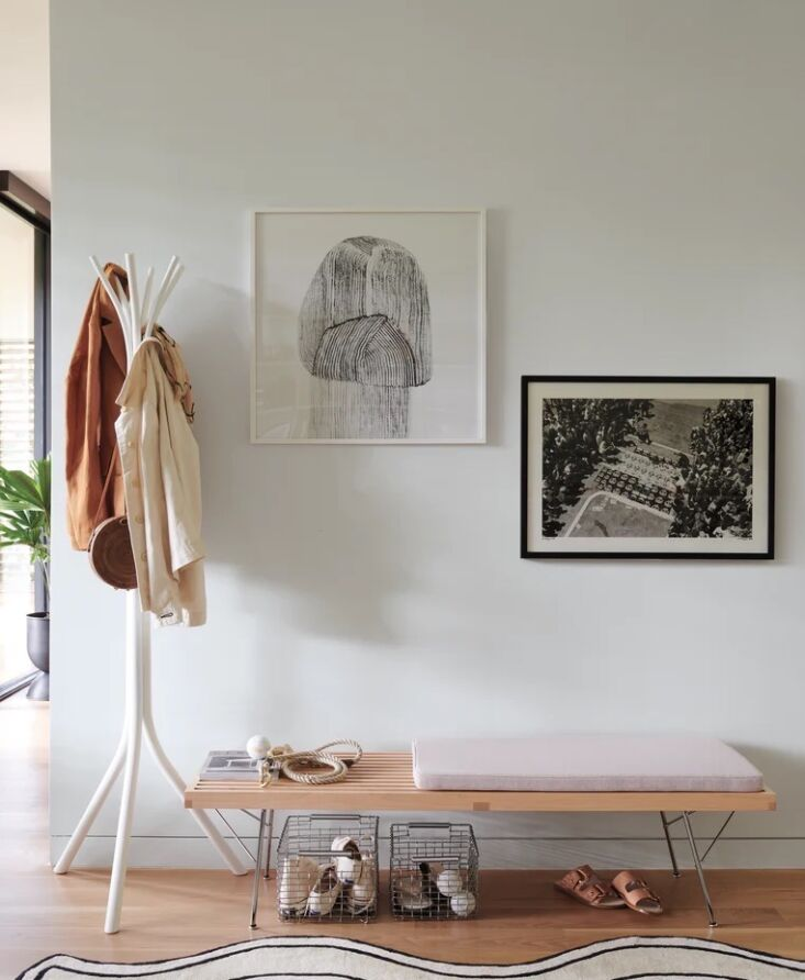 Entry with shoe baskets by Korbo, photo via DWR.