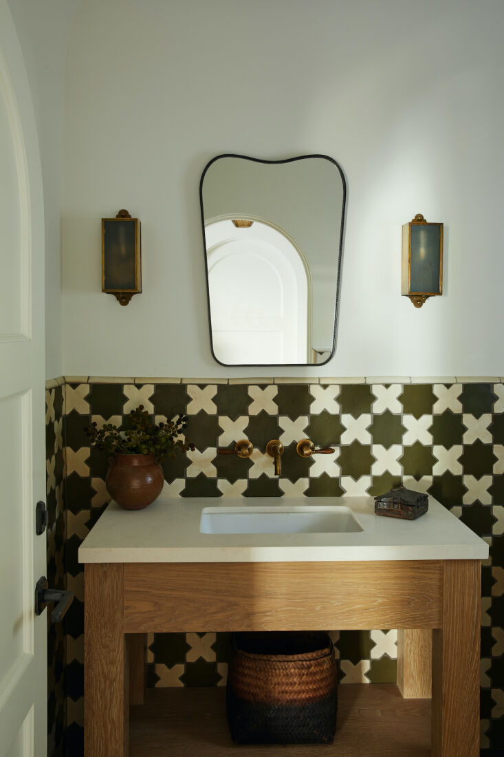 the tiles in this powder room were sourced from tabarka studio. 19