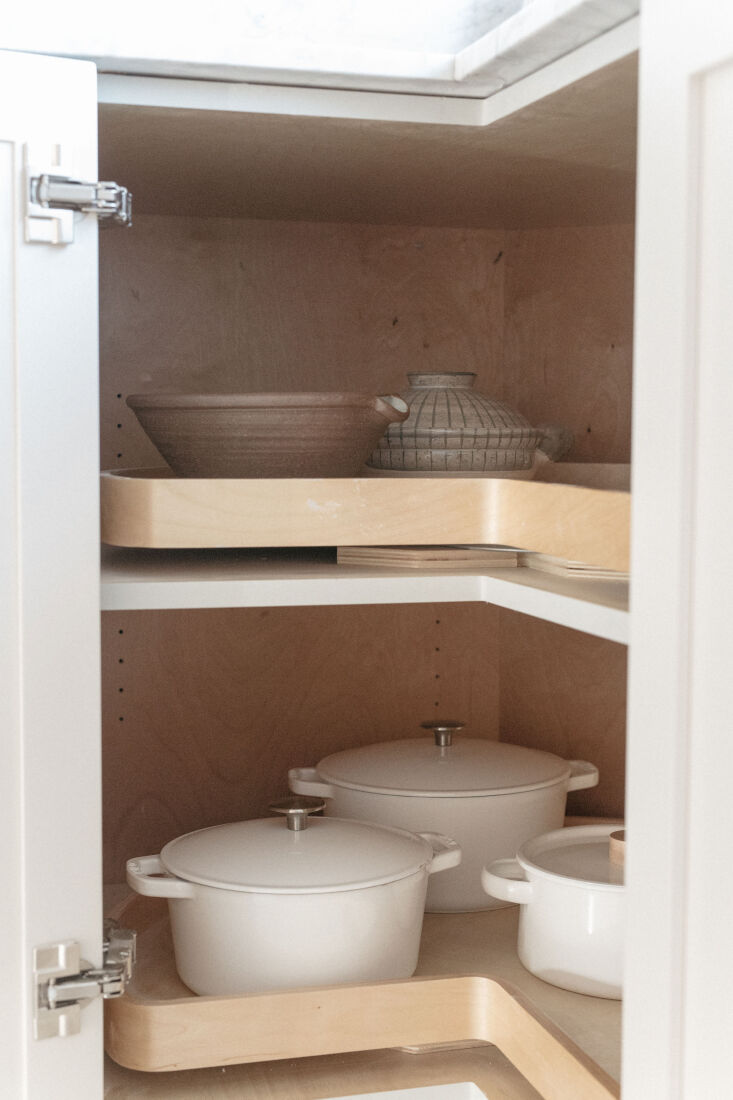 the lower corner cabinets each have what gillian calls &#8\2\20;super susan 17