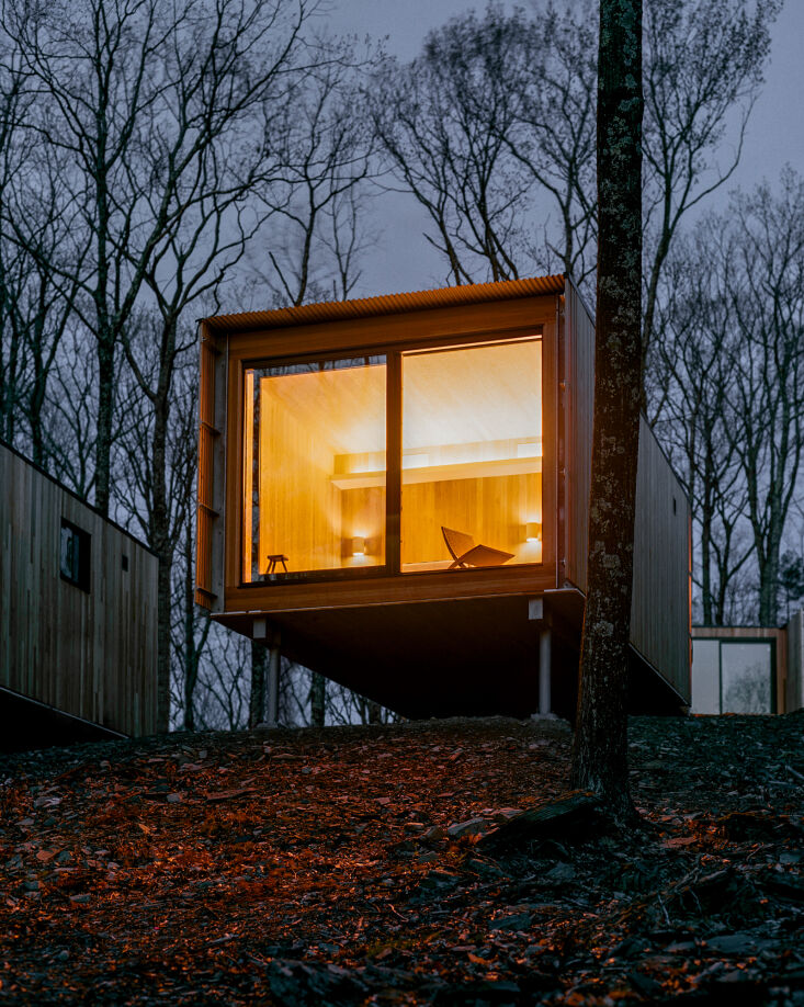 each cabin hovers on piers so as to disturb as little of the landscape as possi 20