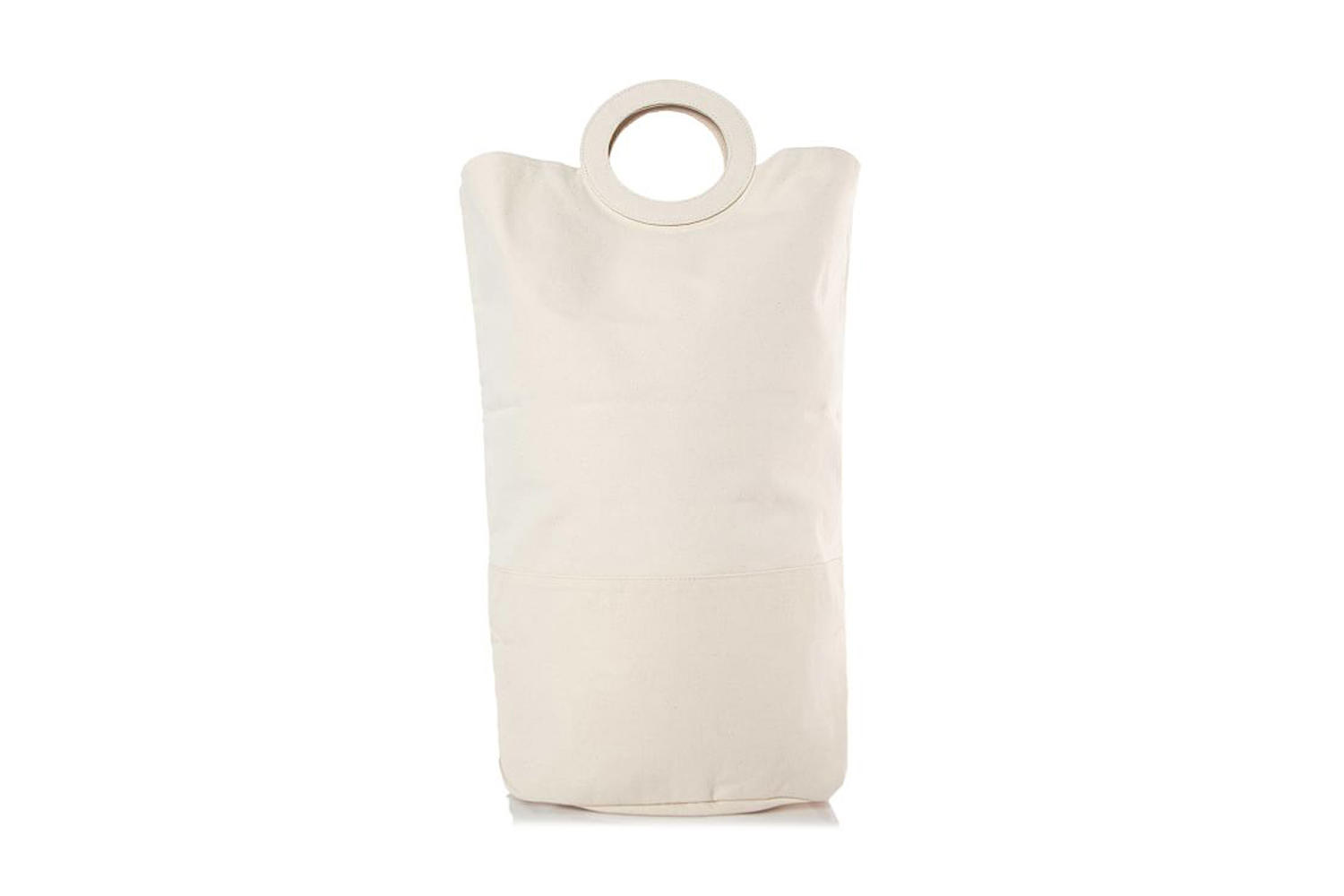 the canvas natural laundry hamper tote is $59 at pottery barn. 14