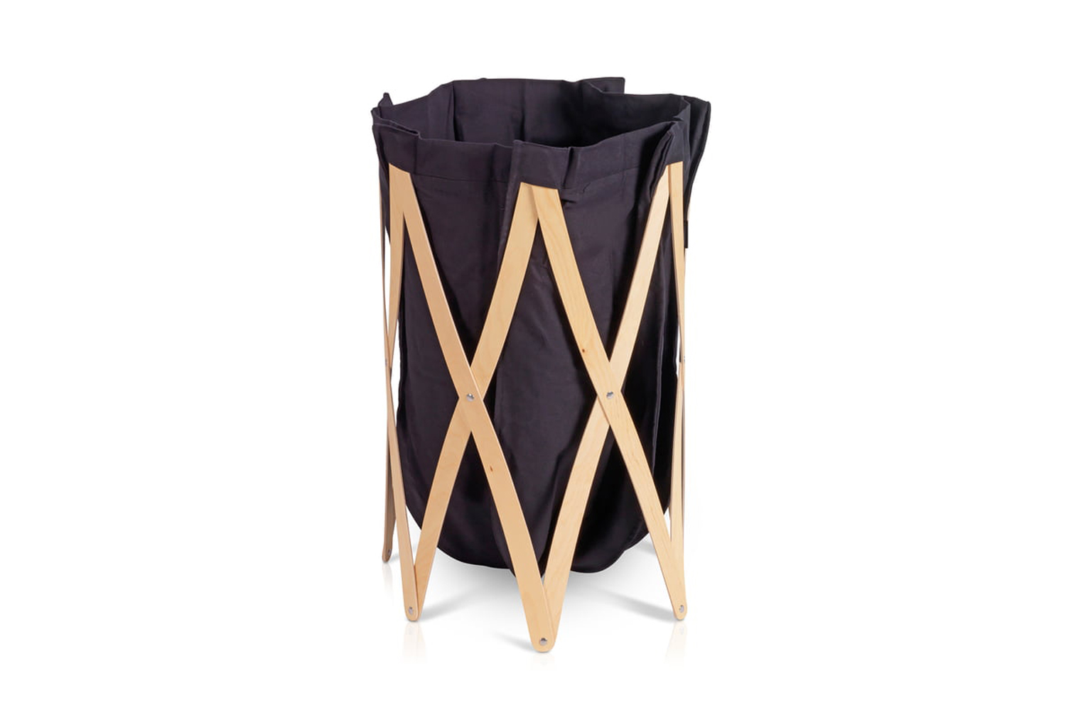 the marie pi laundry basket has a folding wooden frame that is easily stored wh 17