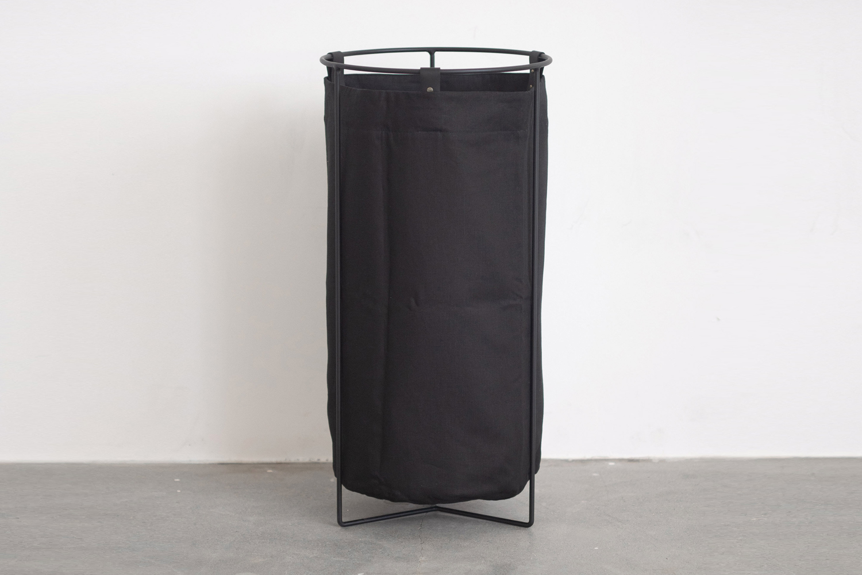Mavis and Osborn Laundry Basket Black Linen