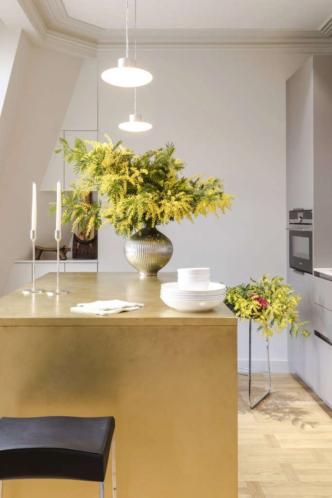 the brushed brass clad island 11