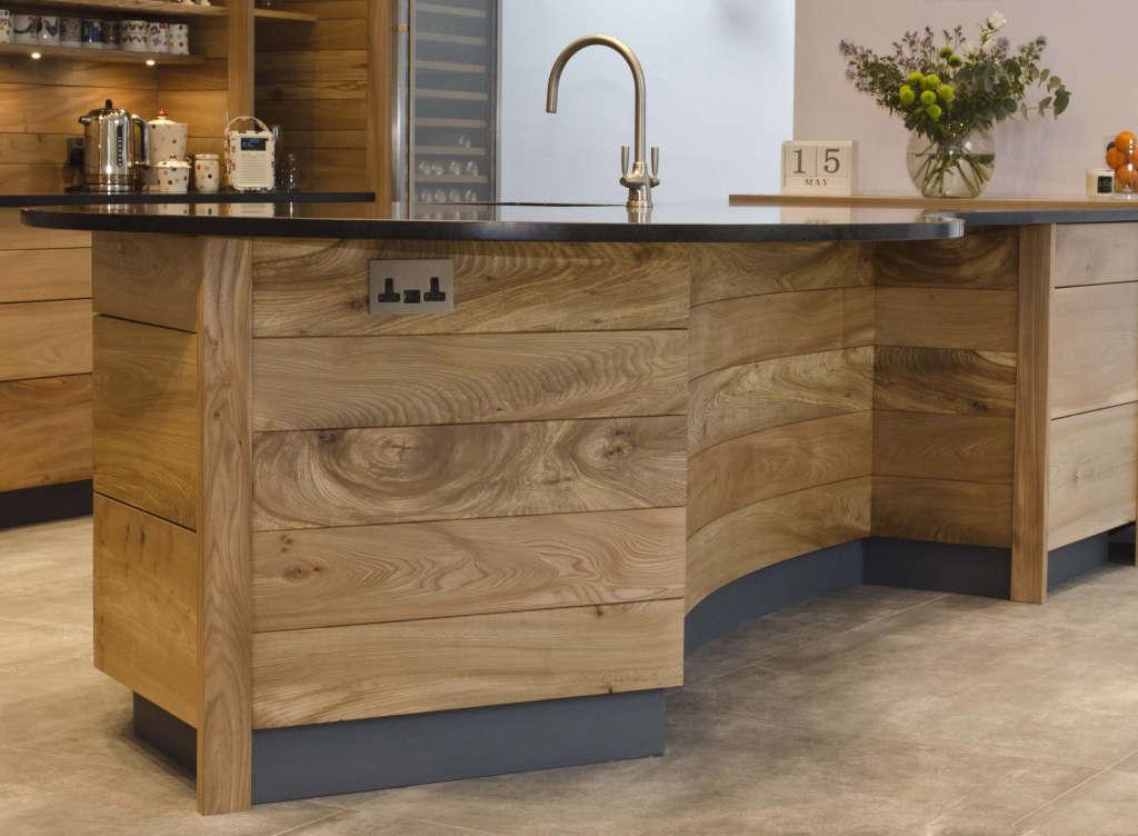 curved elm and honed black granite breakfast bar 10