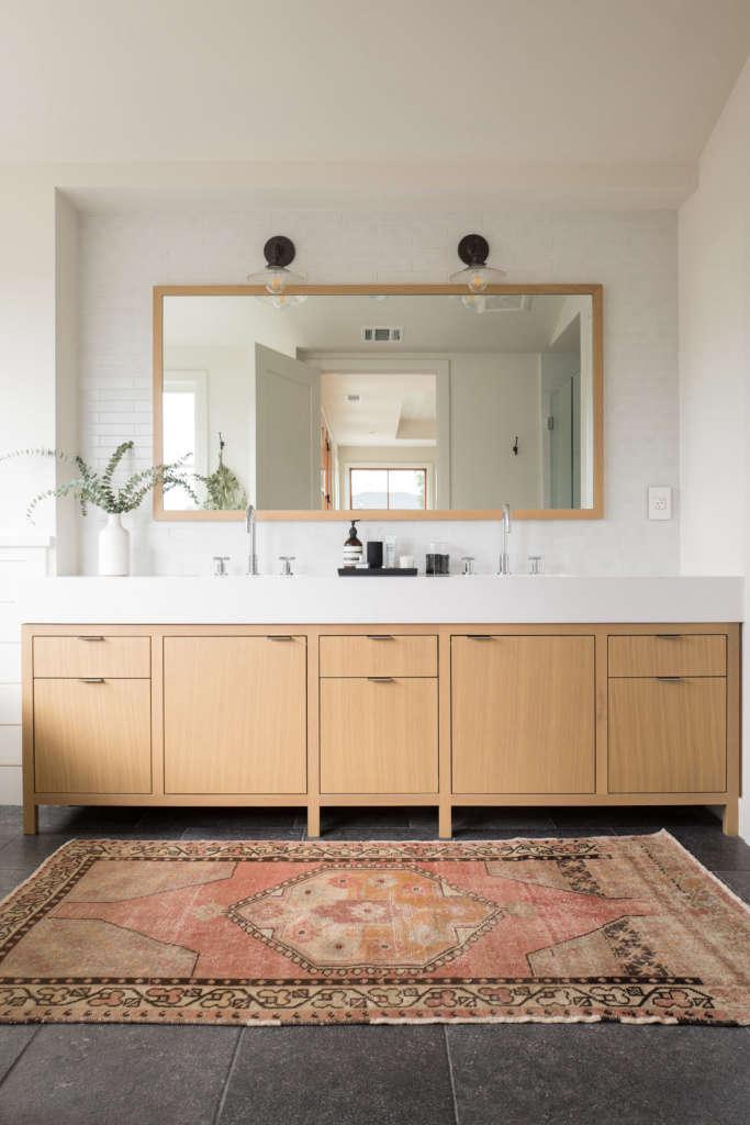 Modern Farmhouse Master Bathroom Modern Oak Vanity