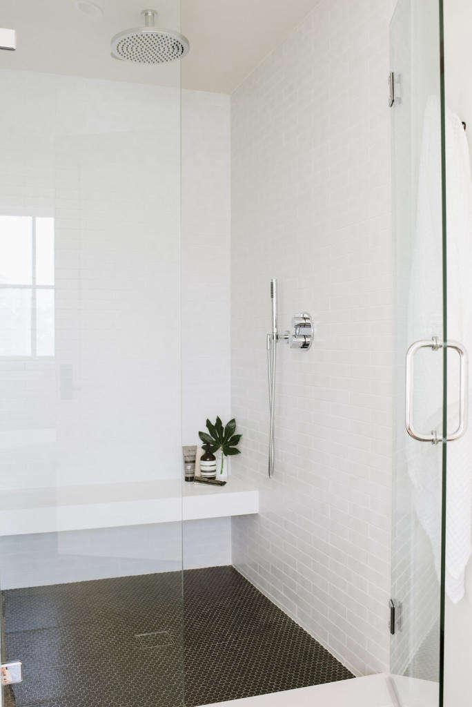 Modern Farmhouse Master Bathroom Black and White Shower