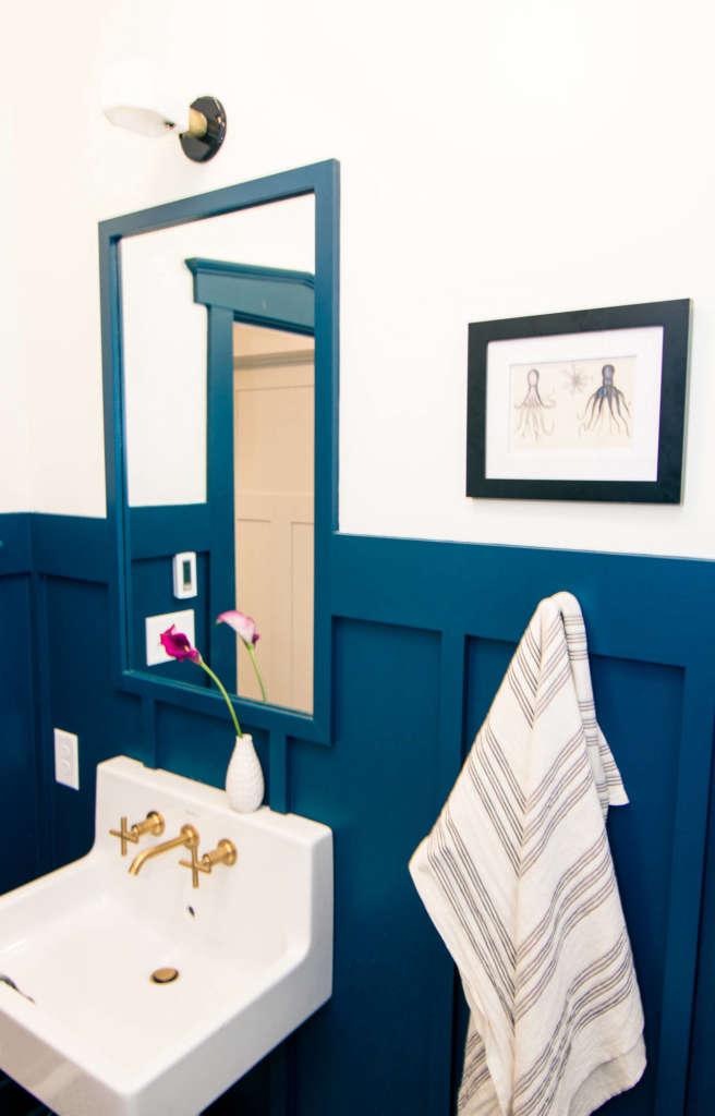 Craftsman Bungalow Guest Bathroom Remodel Lighting