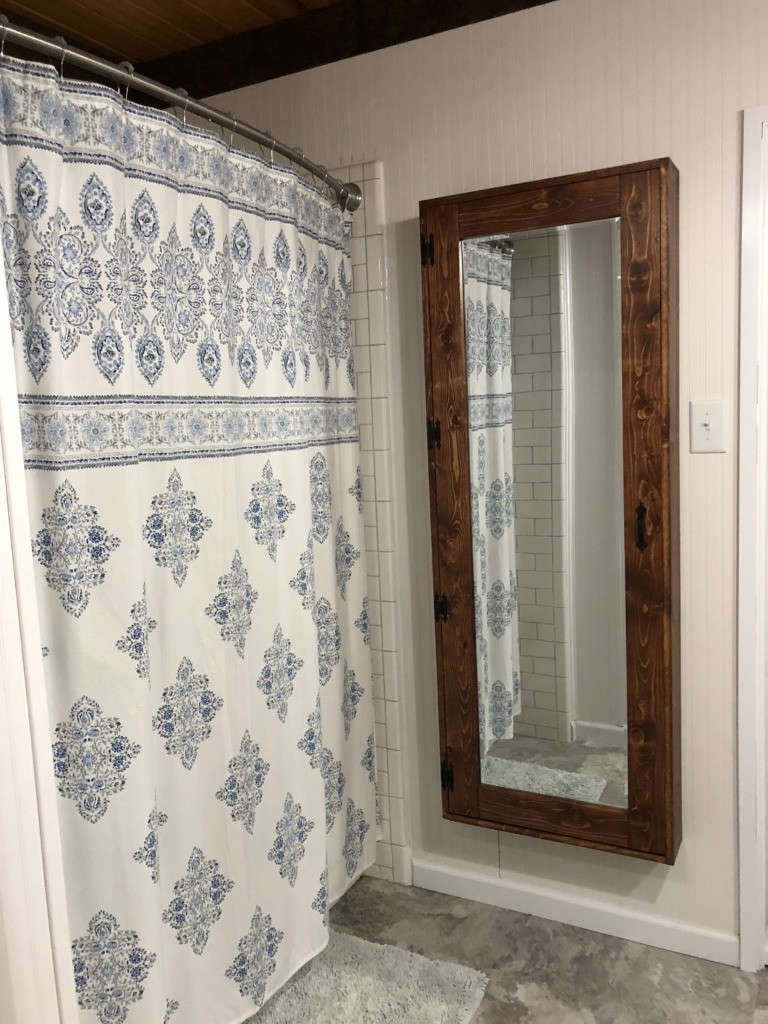 full length storage mirror & country shower curtain 14