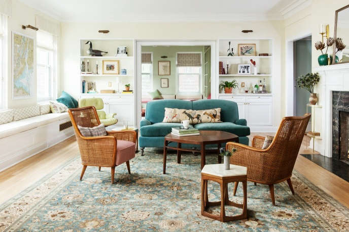 Indigo & Ochre Design Brooklyn Heights Promenade living room with antique Tabriz carpet & vintage cane chairs