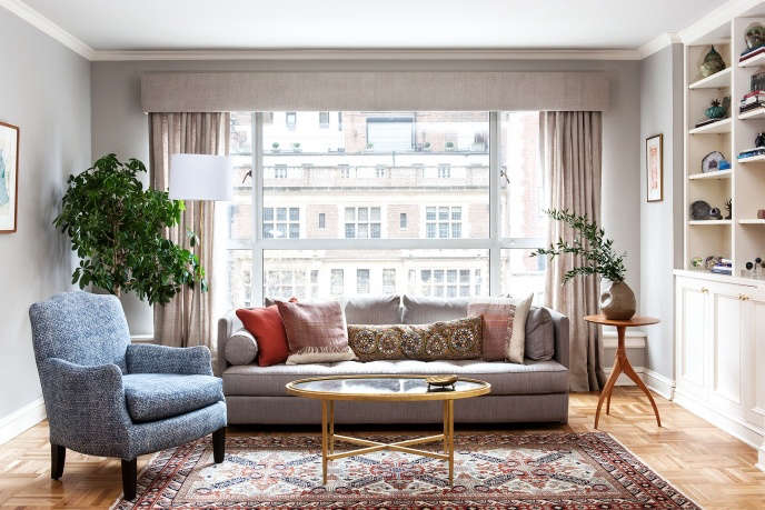 Indigo & Ochre Design Park Avenue living room with ligne roset sofa, cisco brothers chair & lawton mull custom coffee table