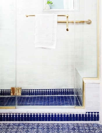 Indigo & Ochre Design Upper East Side Moroccan tile & brass bath