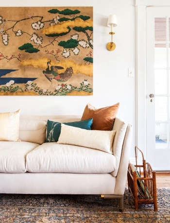 Indigo & Ochre Design Westchester living room with Gracie handpainted screen